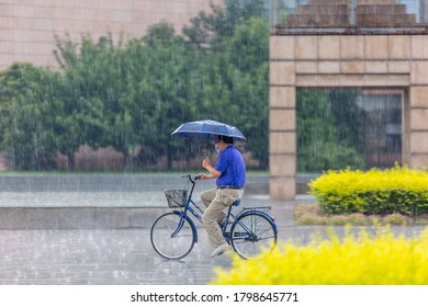 Zhengzhou, China - August, 2020: A man riding a bicycle under a heavy rain holding an umbrella