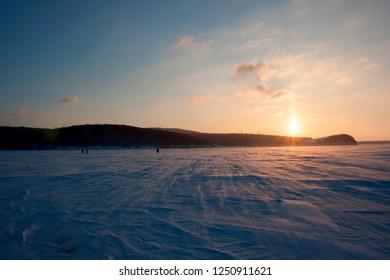 The Zhiguli and the Volga river in winter