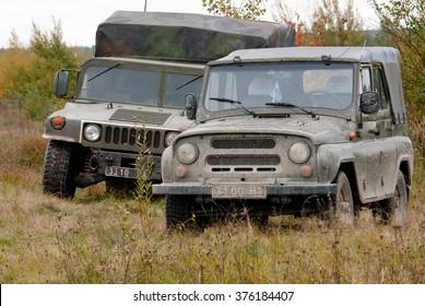 Zhitomir, Ukraine - October 2, 20123. HMMWV and UAZ-3151 Armed Forces of Ukraine.