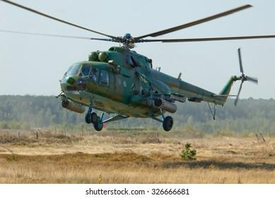 Zhitomir, Ukraine - September 23, 2005. Mi-8 helicopter of the Armed Forces of Ukraine, makes training flight