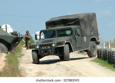 Zhitomir, Ukraine - September 5, 2006 HMMWV Armed Forces of Ukraine during exercises the peacekeeping contingent.