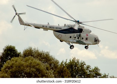 Zhitomir, Ukraine - September 6, 2006. Mi-8 helicopter of the peacekeeping contingent of the Armed Forces of Ukraine, makes training flight