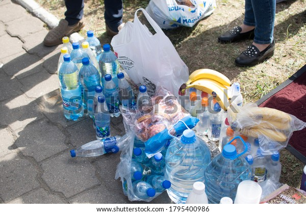 ZHODINO, BELARUS-AUGUST 13, 2020: help (food, water, medicine) for people coming out of prison after the protests in Minsk.