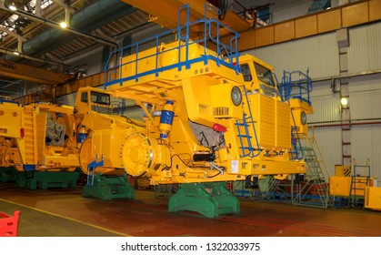 Zhodzina, Belarus - September 29 2018: annual exhibition of Belaz in Belarus, Zhodino, Minsk region. Belaz is a Belarusian manufacturer of haulage and earthmoving equipment.