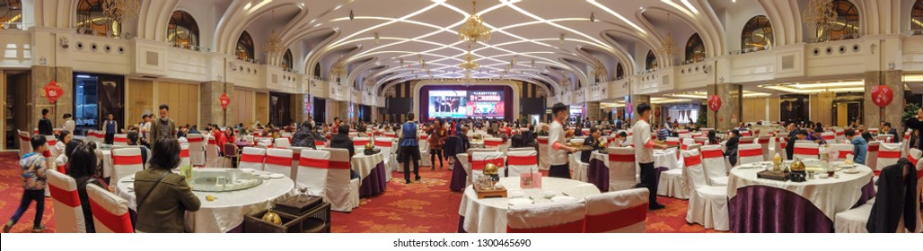 Zhongshan,China-Jan 29, 2019:wide angle view of a Chinese restaurant.
