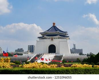 ZHONGZHENG, TAIPEI, TAIWAN – OCTOBER 27, 2018 : Chiang-Kai Shek Memorial Hall in the afternoon.