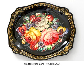 Zhostovo painting, old Russian folk handicraft of painting on metal trays, which still exists in village of Zhostovo. Tray with bright flowers