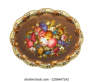 Zhostovo painting, old Russian folk handicraft of painting on metal trays. On white background isolated