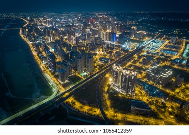 Zhubei City Skyline at Night - Asia modern business concept image, panoramic cityscape birds eye view use the drone, shot in Hsinchu, Taiwan.