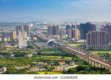 Zhubei city at sunset, Taiwan