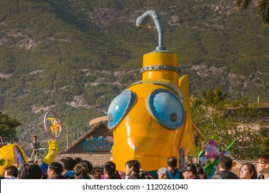 ZHUHAI, CHINA - DEC 20:Float parade in Chimelong Ocean Kingdom on Dec 20, 2017. This is the world's largest marine theme resort.