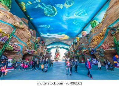 ZHUHAI, CHINA - DEC 20:Visitors in Chimelong Ocean Kingdom on Dec 20, 2017. This is the world's largest marine theme resort.
