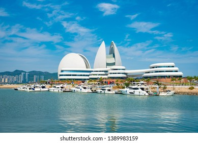 ZHUHAI, CHINA - FEB16, 2019: Giant shell Opera House is the Zhuhai Museum, the Urban Planning Exhibition Hall and the Cultural Centre. The new landmark of Zhuhai, China.