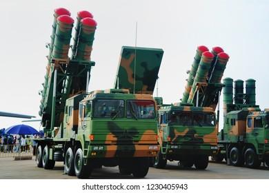 ZHUHAI, CHINA - NOVEMBER 11, 2018: The missile launcher at the 2018 China International Aviation & Aerospace Exhibition at Zhuhai Airshow Center