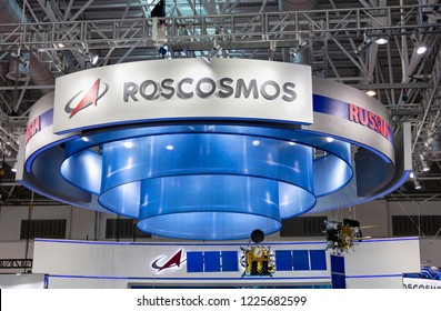 ZHUHAI, CHINA- NOVEMBER 6, 2018: ROSCOSMOS sign is seen at the 12th China International Aviation and Aerospace Exhibition