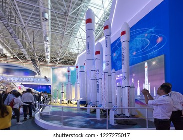 ZHUHAI, CHINA- NOVEMBER 6, 2018: Mockups of the New Generation Launch Vehicles of Long March Family are on diplay during the 12th China International Aviation and Aerospace Exhibition