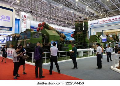 ZHUHAI, CHINA- NOVEMBER 6, 2018: FD-2000 Long range air defense missile system is on display during the 12th China International Aviation and Aerospace Exhibition, also known as Airshow China