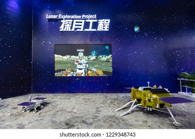 ZHUHAI, CHINA- NOVEMBER 6, 2018: Rover and lander models are seen at the Lunar Exploration Project area during the 12th China International Aviation and Aerospace Exhibition