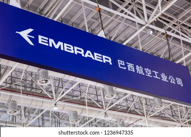 ZHUHAI, CHINA- NOVEMBER 7, 2018: EMBRAER sign is seen during the 12th China International Aviation and Aerospace Exhibition, also known as Airshow China 2018.