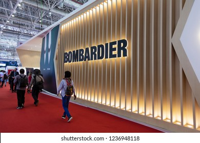 ZHUHAI, CHINA- NOVEMBER 7, 2018: BOMBARDIER booth at the 12th China International Aviation and Aerospace Exhibition, also known as Airshow China 2018.