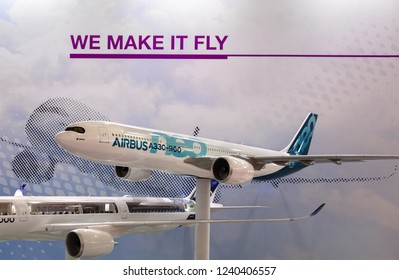 ZHUHAI, CHINA- NOVEMBER 7, 2018: A mockup of the Airbus A330-900 is on display at the AIRBUS booth during the 12th China International Aviation and Aerospace Exhibition