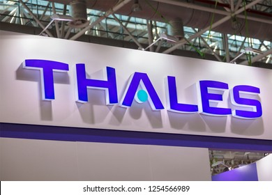 ZHUHAI, CHINA- NOVEMBER 7, 2018: THALES sign is seen during the 12th China International Aviation and Aerospace Exhibition, also known as Airshow China 2018