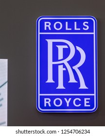 ZHUHAI, CHINA- NOVEMBER 7, 2018: ROLLS ROYCE sign is seen during the 12th China International Aviation and Aerospace Exhibition, also known as Airshow China 2018