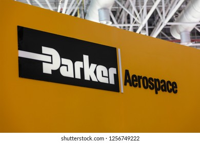 ZHUHAI, CHINA- NOVEMBER 7, 2018: Parker Aerospace sign is seen at the 12th China International Aviation and Aerospace Exhibition, also known as Airshow China 2018