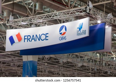 ZHUHAI, CHINA- NOVEMBER 7, 2018: France flag, GIFA and LA FRENCH FAB signs are seen during the 12th China International Aviation and Aerospace Exhibition, also known as Airshow China 2018