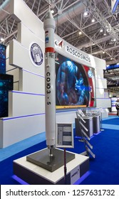 ZHUHAI, CHINA- NOVEMBER 7, 2018: A mockup of the SOYUZ 5 Launch vehicle is on display at the Roscosmos booth during the 12th China International Aviation and Aerospace Exhibition.