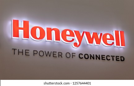 ZHUHAI, CHINA- NOVEMBER 7, 2018: Honeywell sign; Honeywell International Inc. is an American multinational conglomerate company founded in 1906 and serves worldwide
