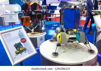ZHUHAI, CHINA- NOVEMBER 7, 2018: A mockup of the LUNA-GLOB spacecraft is on display during the 12th China International Aviation and Aerospace Exhibition, also known as Airshow China 2018