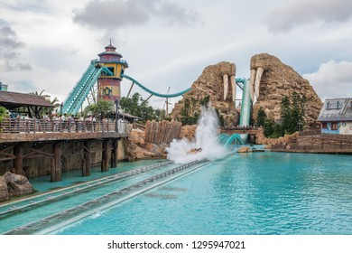 Zhuhai, China: September 23, 2018:  Chimelong Ocean Kingdom resort, which is the 11th most visited theme park in the world.  In 2017, 9.7 million people visited Chimelong Ocean Kingdom.
