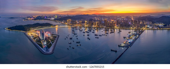 Zhuhai Grand Theatre sunset fire burning clouds evening aerial photography