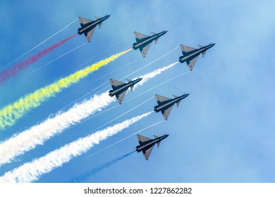 Zhuhai, GuangDong, China - November 07, 2018:  J-10 at Airshow China 2018
