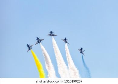 Zhuhai, GuangDong, China - November 07, 2018:  J-10 at Airshow China 2018