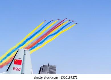 Zhuhai, GuangDong, China - November 07, 2018:  Aerobatic team perfrom flight demonstration at Airshow China 2018