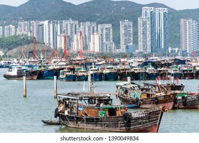 Zhuhai/China-2019/02/16:Fishing boats at the port of Zhuhai