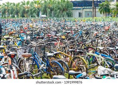 Zhuhai,Guangdong/China-2019/03/16:the parking of rental bicycles on China