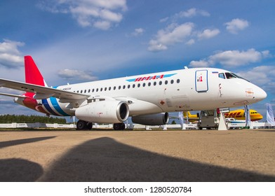 Zhukovskiy, Russia - August 28, 2015: Sukhoi Superjet 100 RA-89034 Yamal Airlines at the exhibition stand
