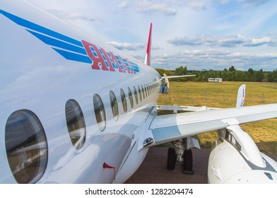Zhukovskiy, Russia - August 28, 2015: Sukhoi Superjet 100 RA-89034 Yamal Airlines at the exhibition stand. view of the wing