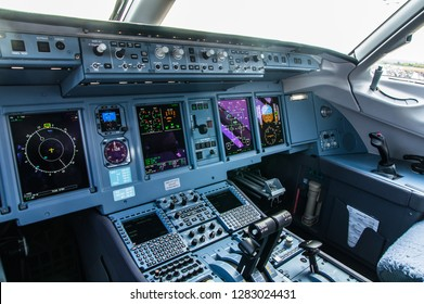 Zhukovskiy, Russia - August 28, 2015: Sukhoi Superjet 100 RA-89034 Yamal Airlines cockpit view