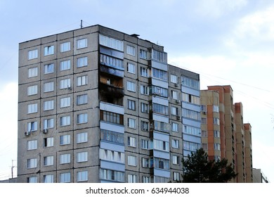 Zhukovskiy, Russia - May 02, 2017: Editorial use only. Traces of a fire in an apartment building.