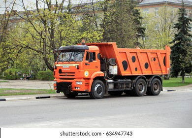 Zhukovskiy, Russia - May 05, 2017: Editorial use only. Road machine, dumper, on the city street.