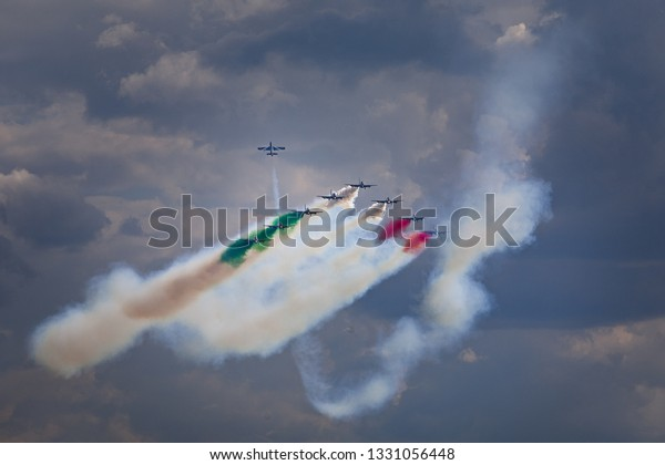 Zhukovskiy,Moscow Region, Russia - August 09,2012: Mb339 jet team Frecce Tricolori during maneuver.