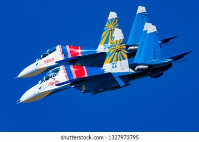 Zhukovskiy,Moscow Region, Russia - August 25,2015: Su-27 jet team Russian Knights during maneuver.