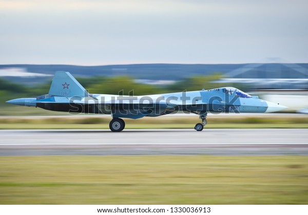 Zhukovskiy,Moscow Region, Russia - August 27,2015: PAK FA's (T-50/Su-50) landing roll-out.
