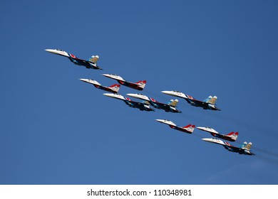 ZHUKOVSKY - 12 AUGUST: Aerobatic groups Strizhi and Russian knights show demonstration flight at show dedicated to the centenary of the Russian Air Force 12 august, 2012 in Zhukovsky, Russia