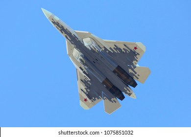 ZHUKOVSKY, MOSCOW REGION, RUSSIA - APRIL 23, 2018: Sukhoi Su-57 (T-50) 055 brand new stealth jet fighter of russian air force in new pixel color scheme at Zhukovsky airport.
