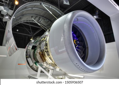 ZHUKOVSKY, MOSCOW REGION, RUSSIA - AUG 27, 2019: Promising turbojet PD-14 at the stand of the United engine Corporation at the International Aviation and Space salon MAKS-2019